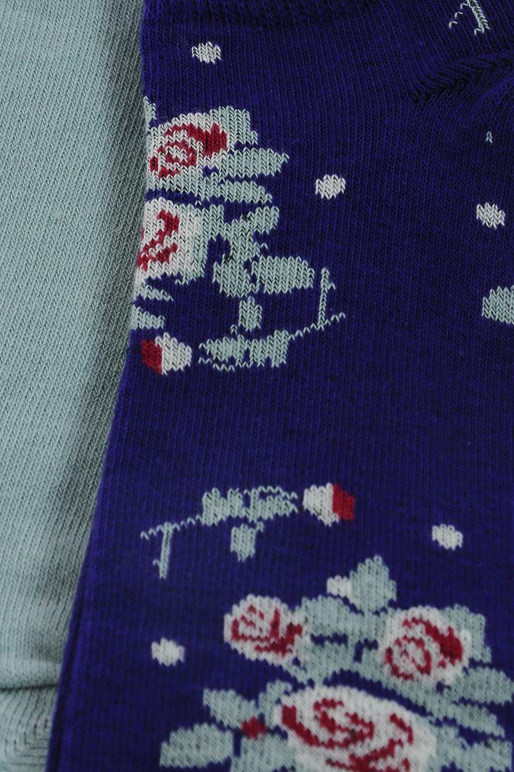 Bayan Çok Renkli Gül Desenli Kısa Çorap