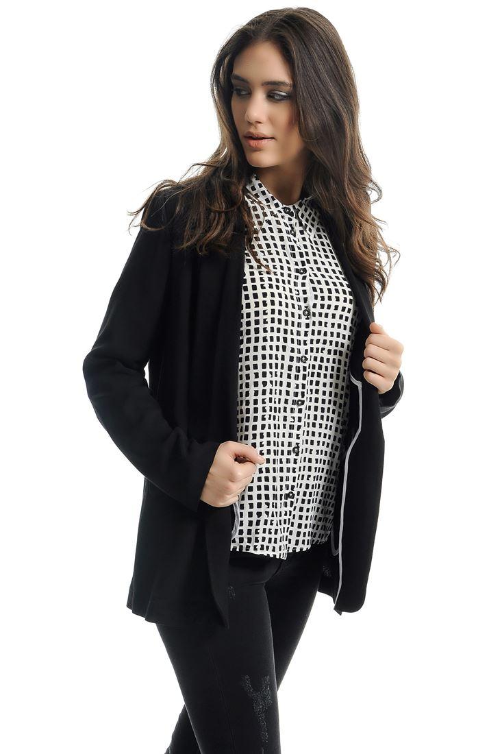 Siyah Cepli Uzun Ceket