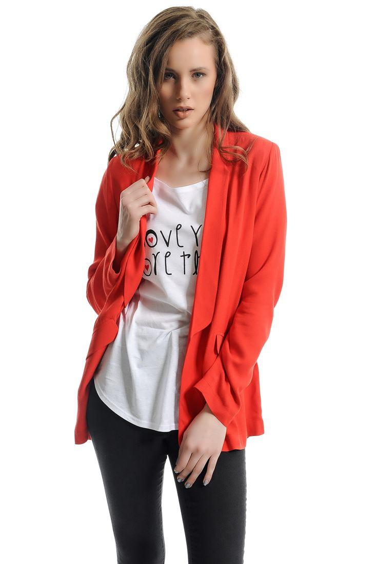 Kırmızı Cepli Uzun Ceket