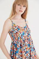 Bayan Mavi Çiçek Desenli Arkası Açık Elbise