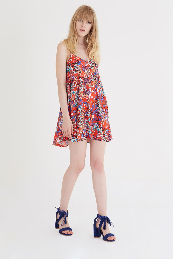 Bayan Turuncu Çiçek Desenli Arkası Açık Elbise