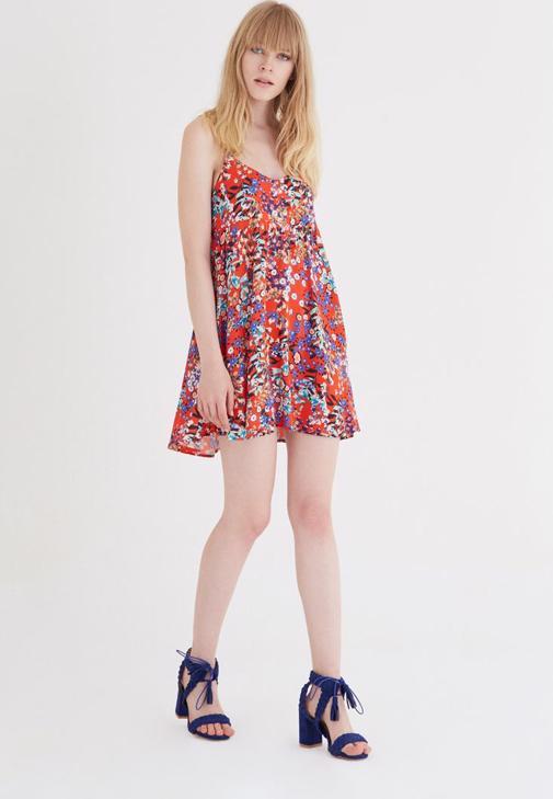 Turuncu Çiçek Desenli Arkası Açık Elbise