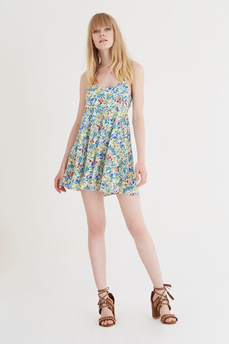 Sarı Çiçek Desenli Arkası Açık Elbise