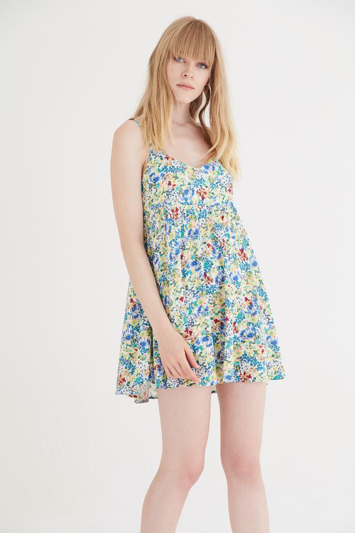 Bayan Sarı Çiçek Desenli Arkası Açık Elbise