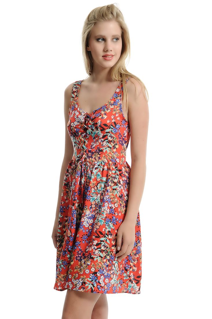 Turuncu Desenli Kloş Elbise