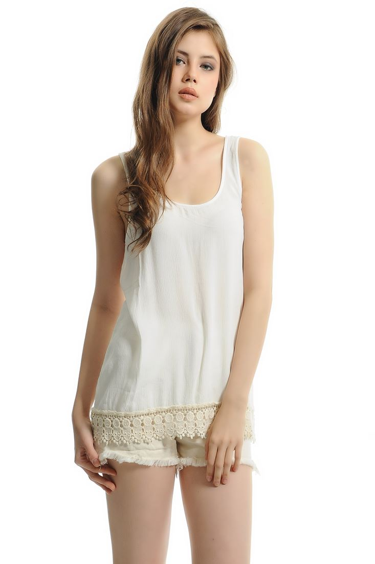 Cream Sleeveless Top With Lace Detail