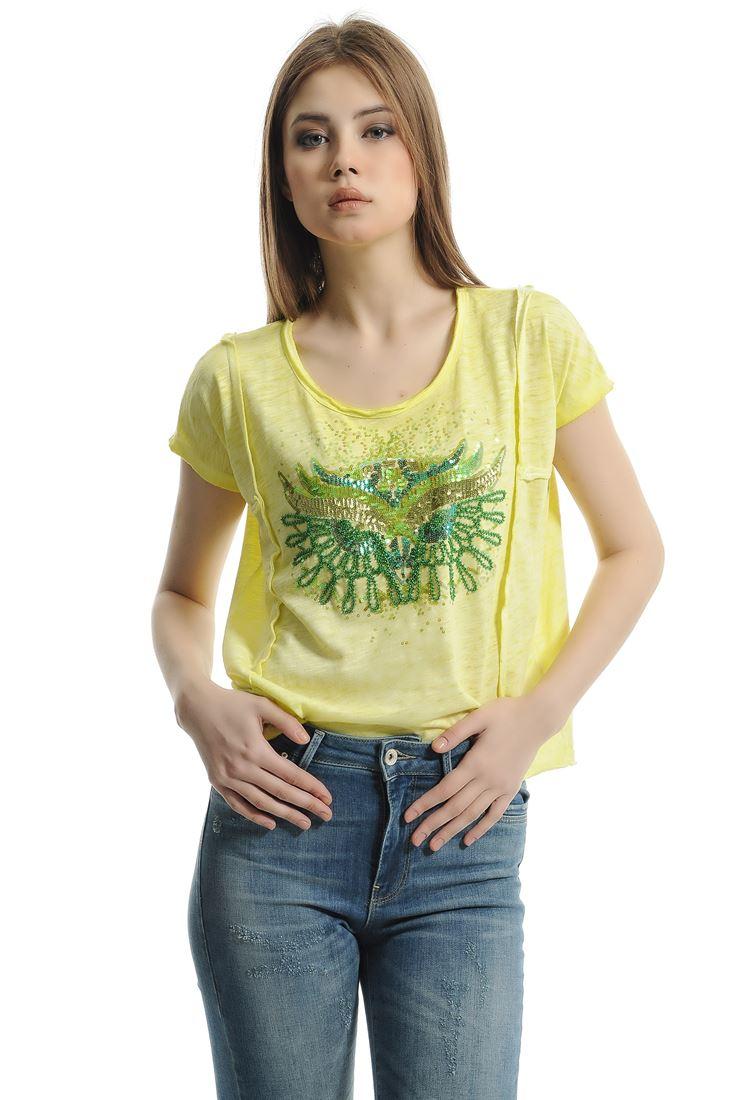 Sarı Pullu Baykuş Baskılı Tişört