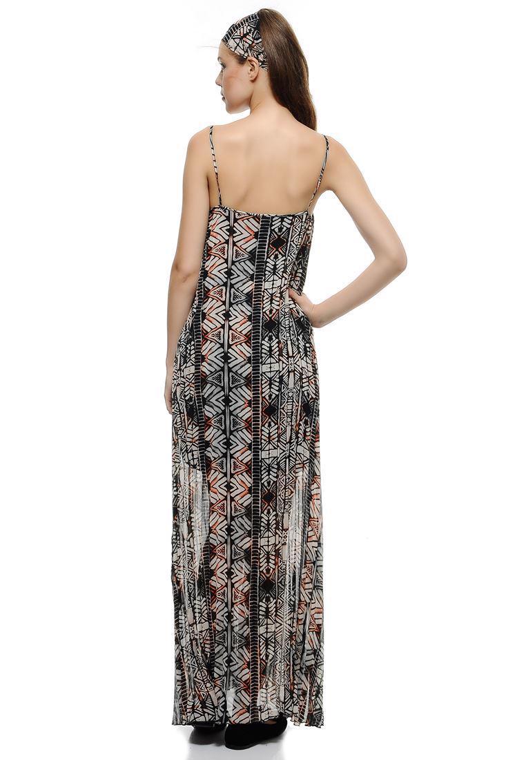 Bayan Çok Renkli Askılı Uzun Pilise Elbise