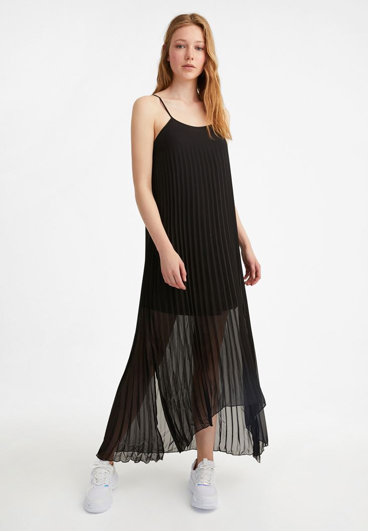 Siyah Askılı Uzun Pilise Elbise