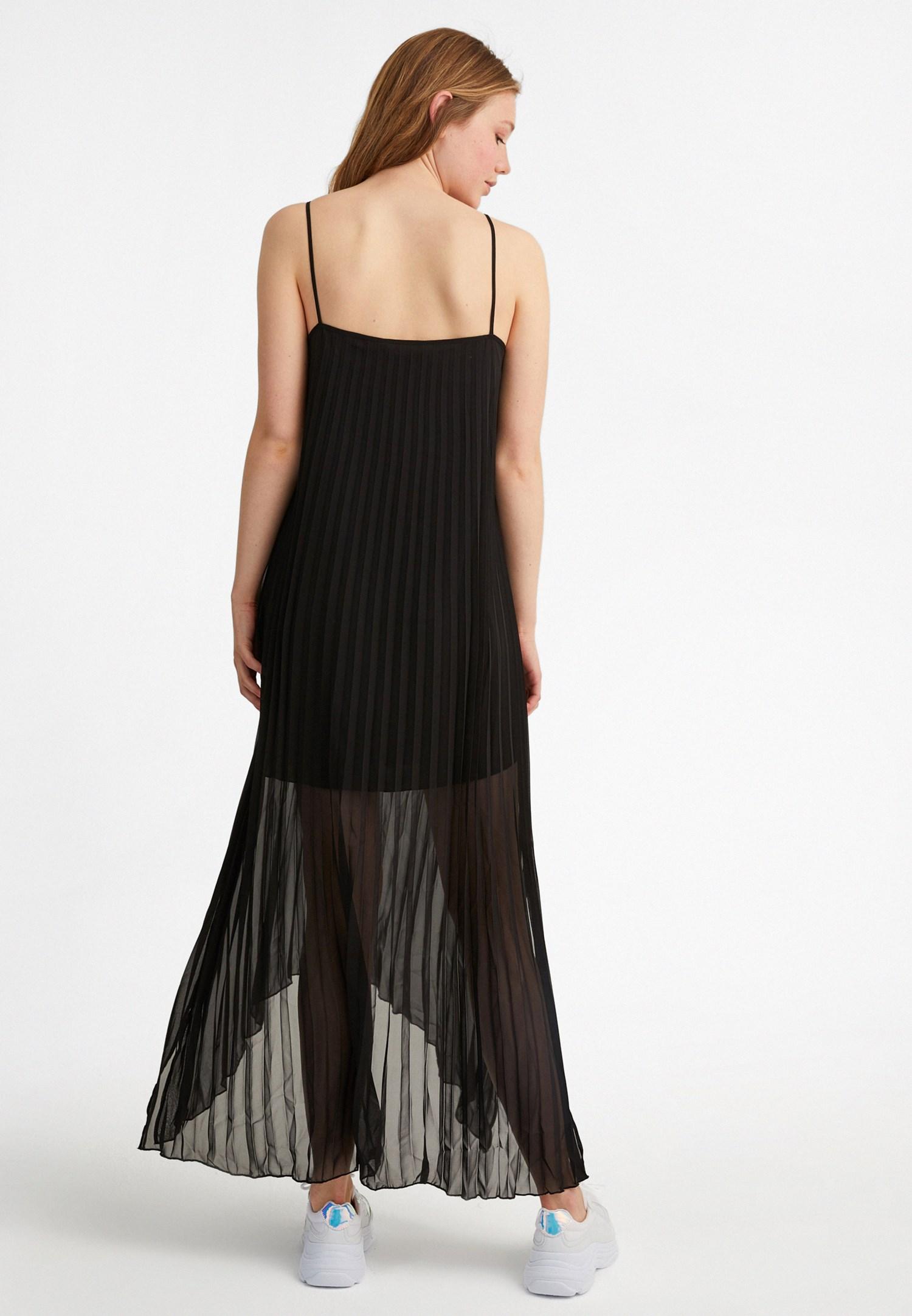 Bayan Siyah Askılı Uzun Pilise Elbise
