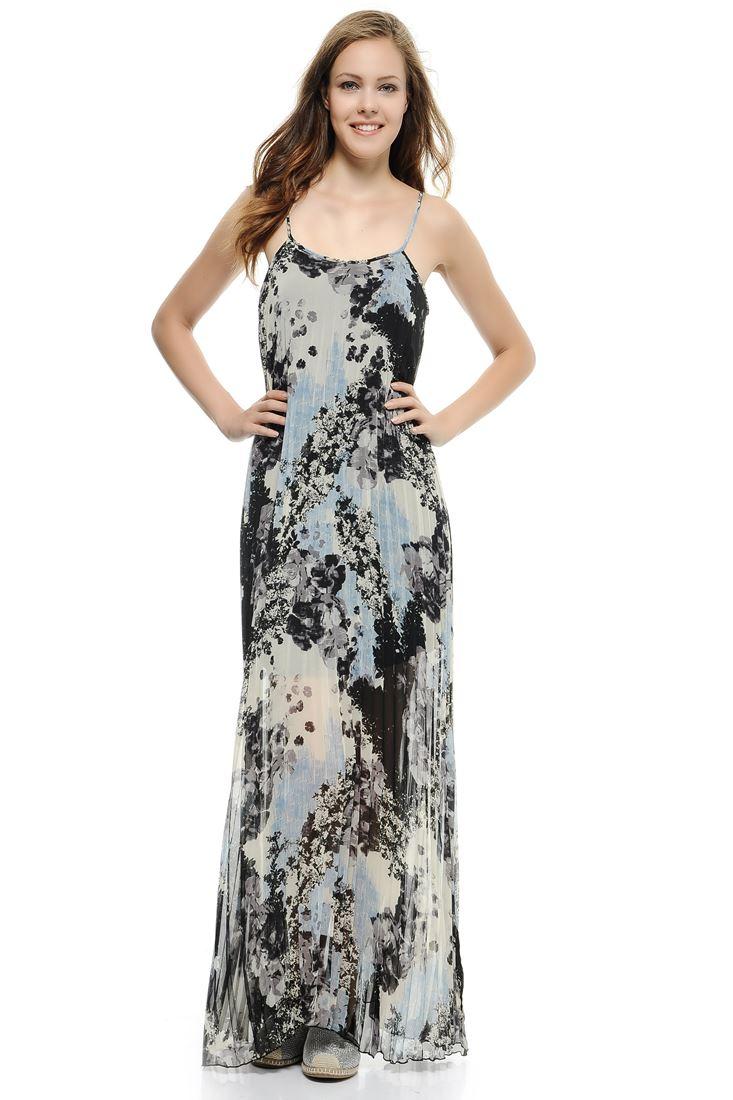 Çok Renkli Askılı Uzun Pilise Elbise