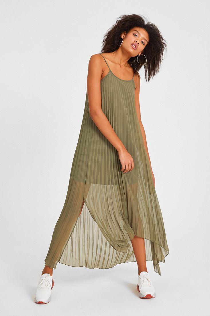 Askılı Uzun Yeşil Elbise Kombini