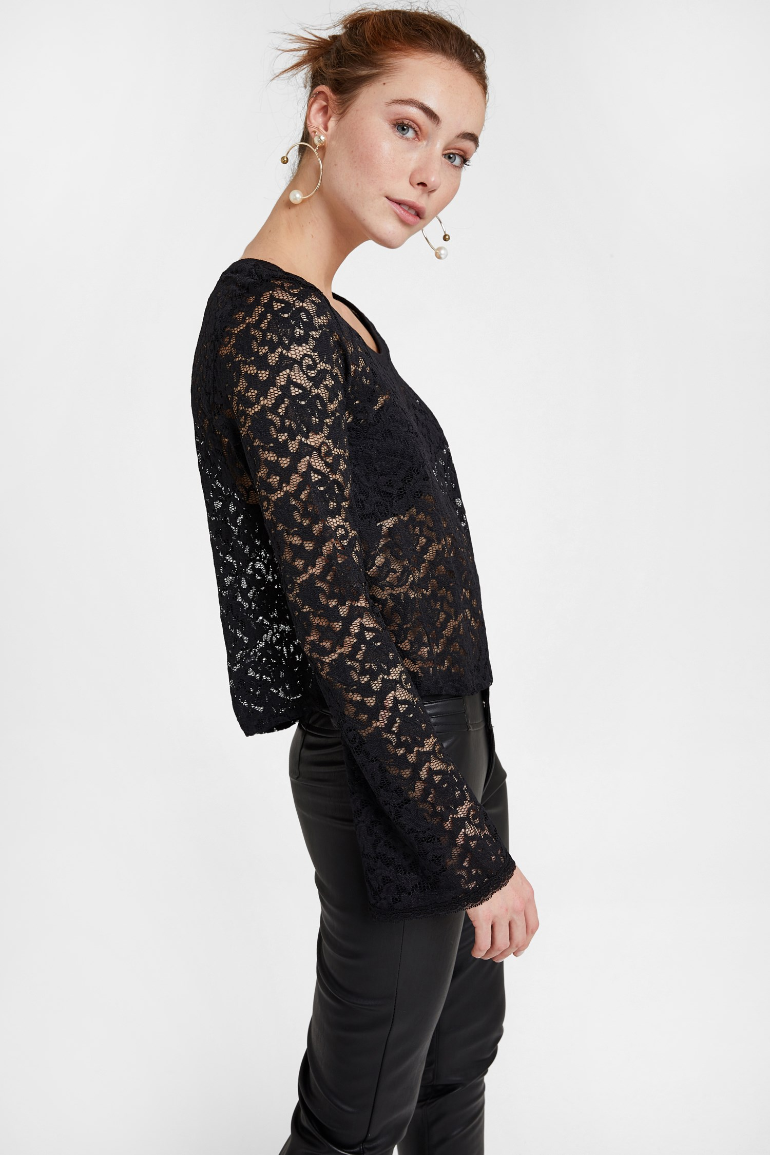 Women Black Lace Detail Blouse