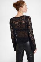Bayan Siyah Dantel Detaylı Bluz