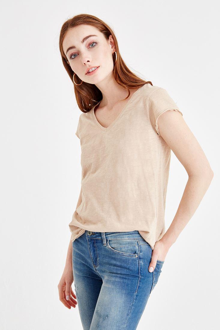 Krem V Yaka Basic Tişört