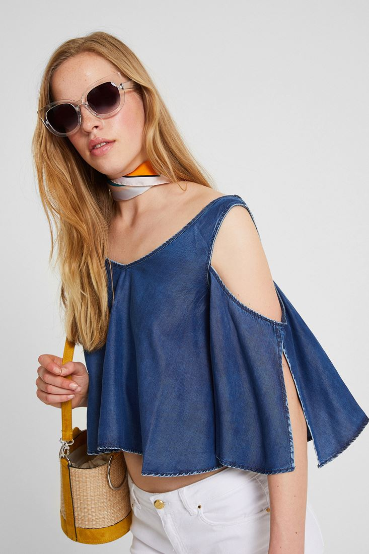 Blue Blouse With Shoulder Off Detail