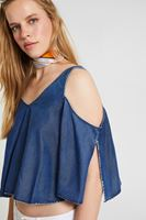 Women Blue Blouse With Shoulder Off Detail