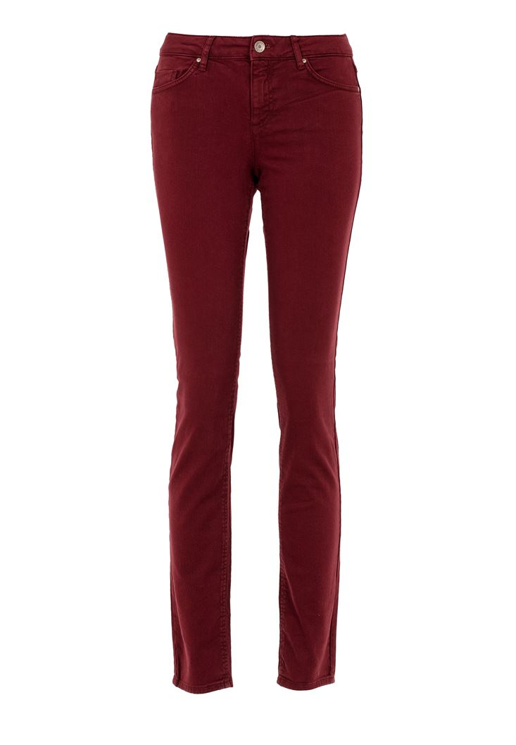 Red Low Waisted Slim Leg Trouser