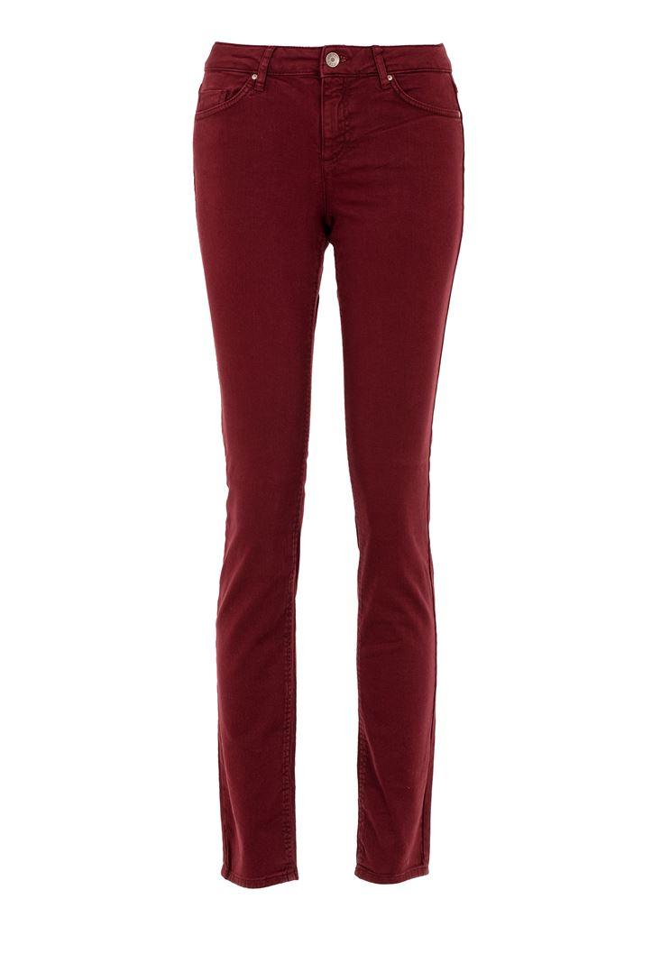 Kırmızı Düşük Bel Slim Paça Pantolon