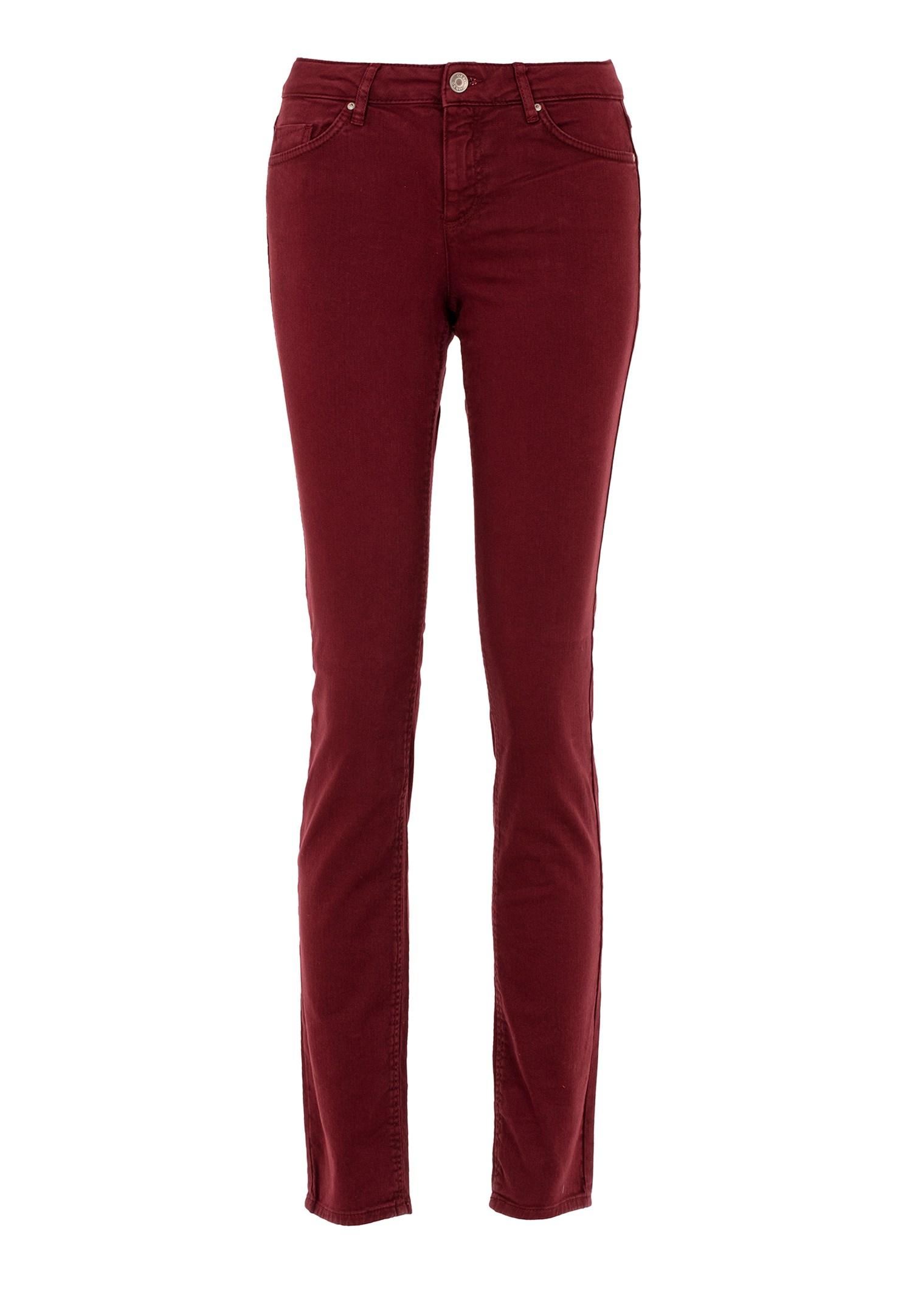 Bayan Kırmızı Düşük Bel Slim Paça Pantolon
