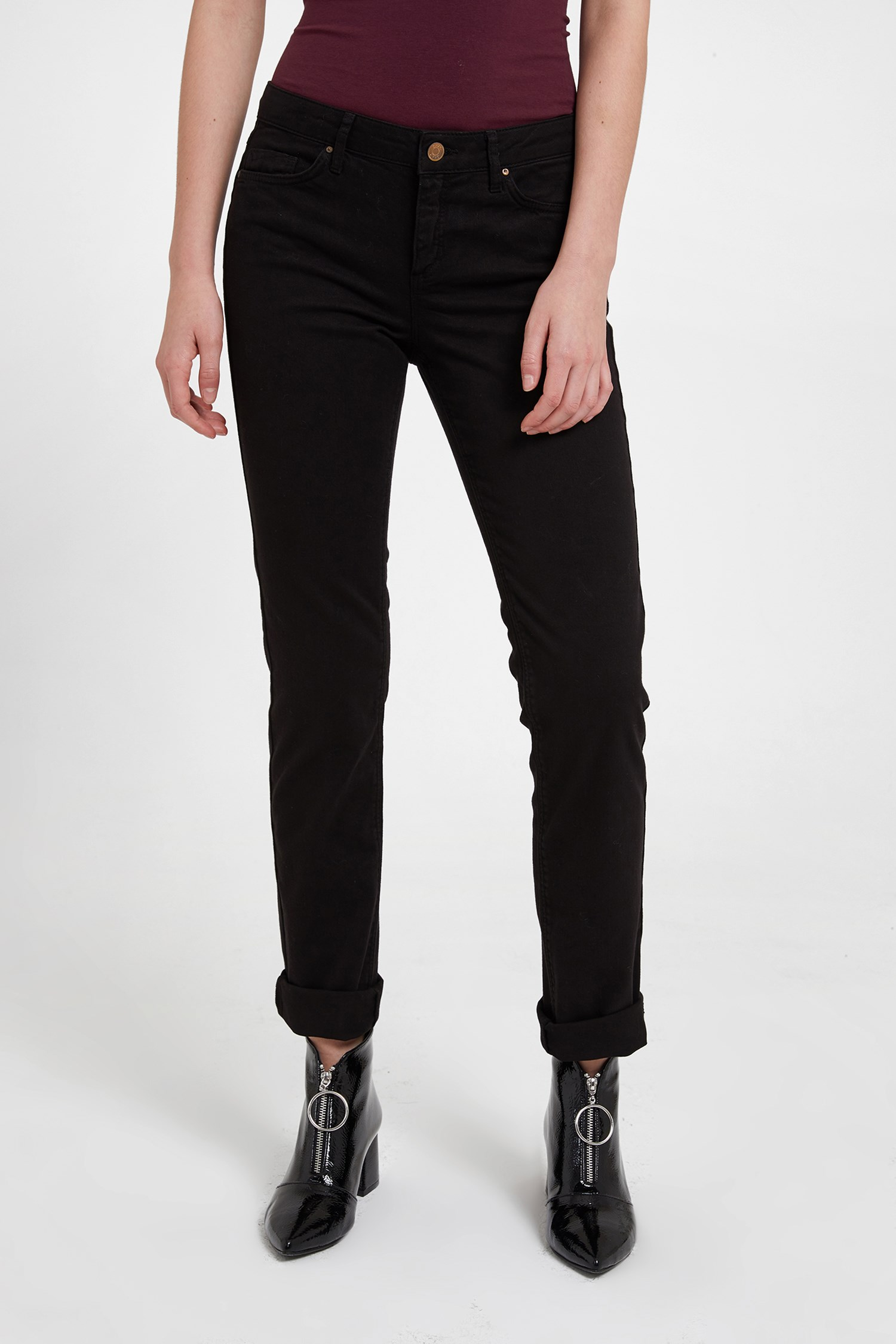 Bayan Siyah Düşük Bel Slim Paça Pantolon