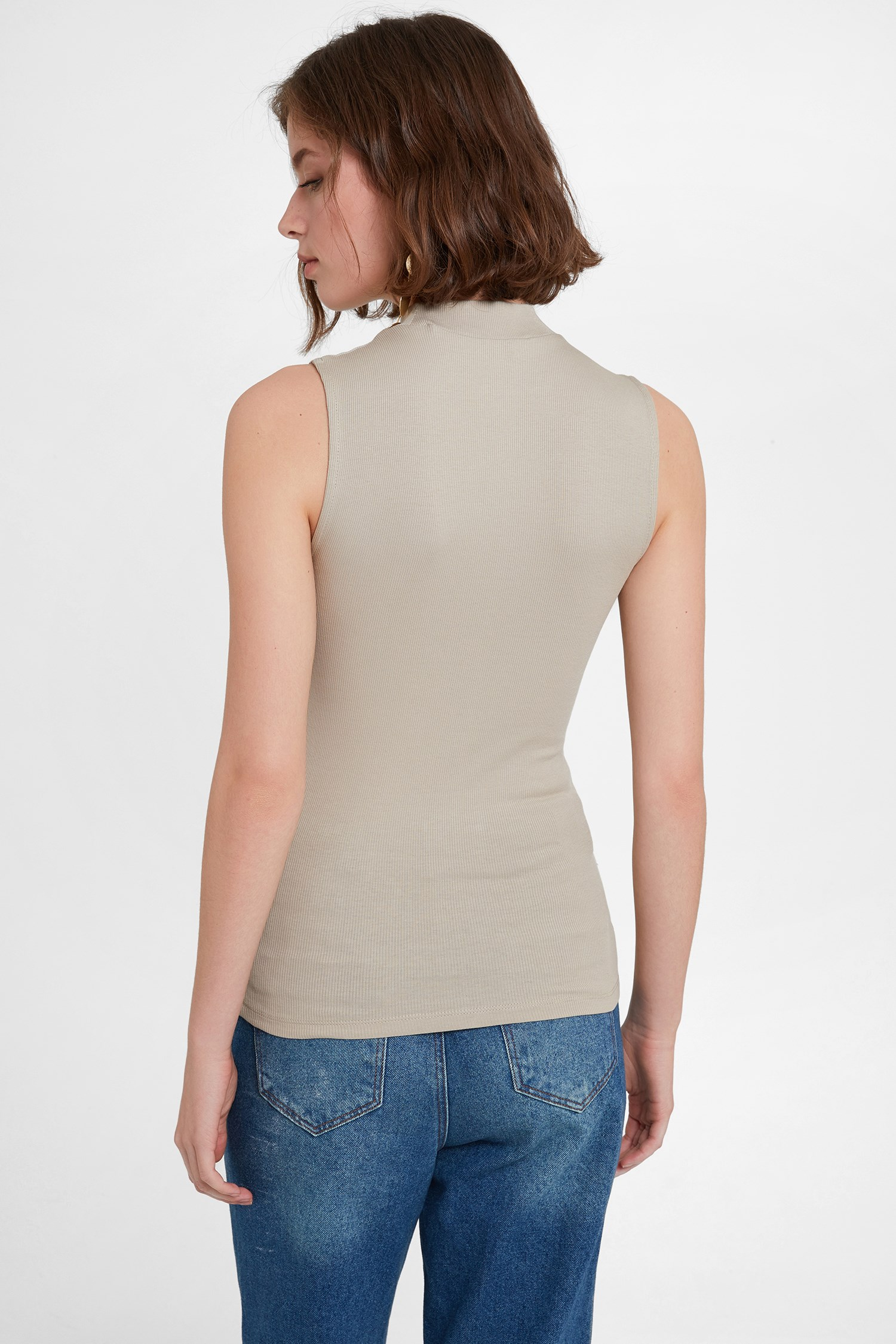 Women Cream Turtle Neck Tank