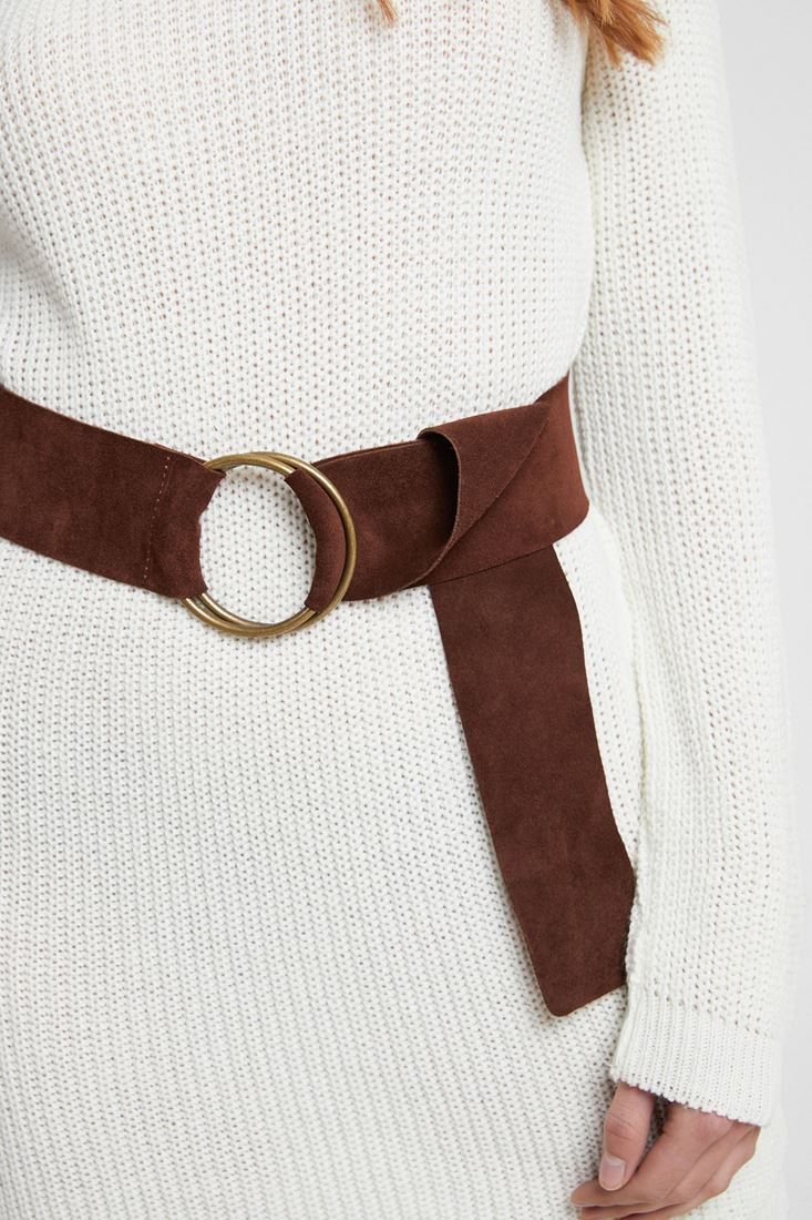 Brown Suede Belt with Buckle