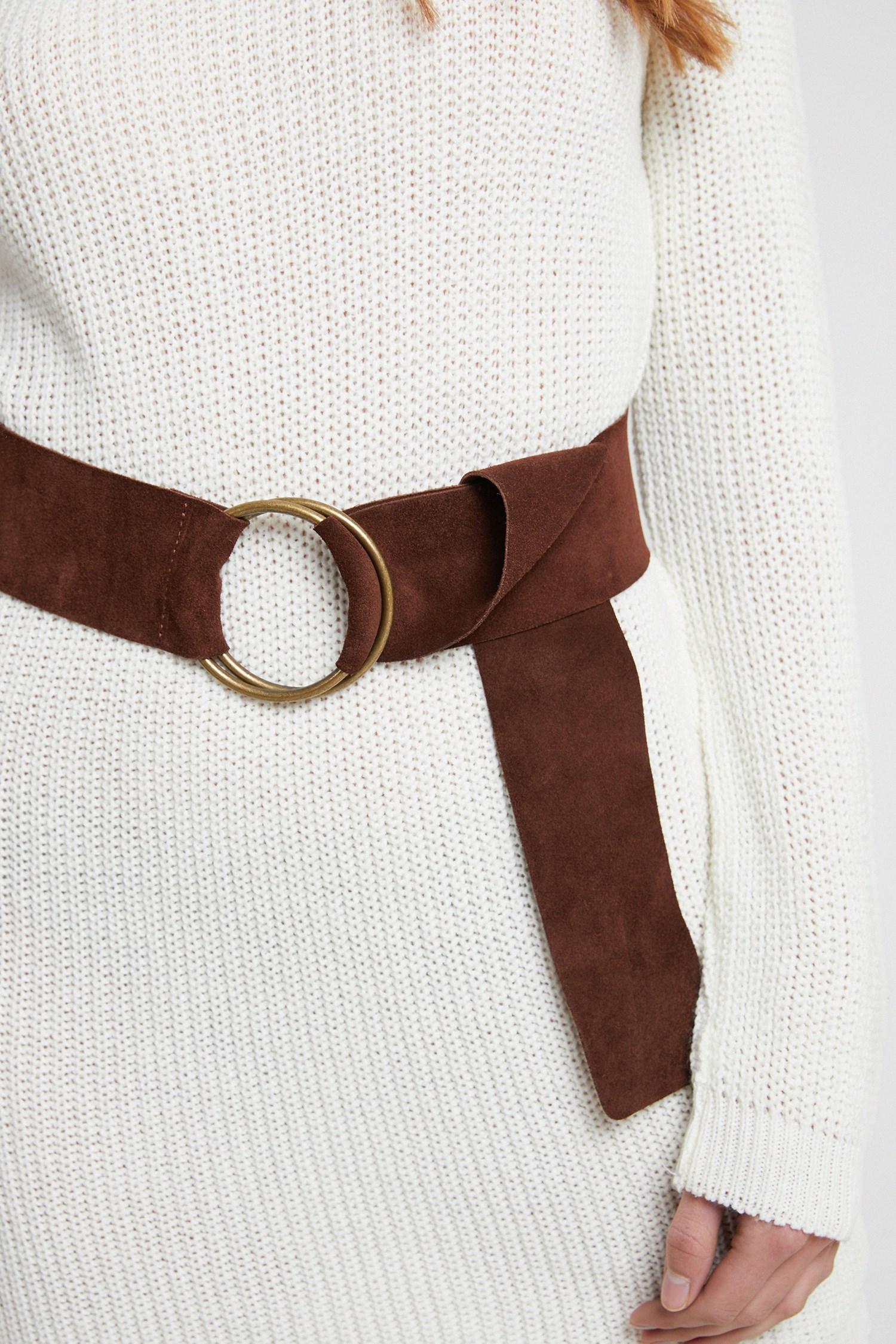 Women Brown Suede Belt with Buckle