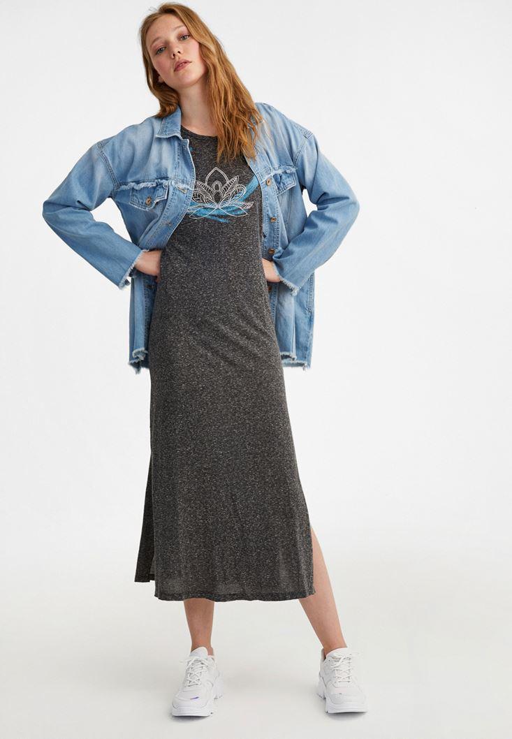 Grey Lotus Printed Maxi Dress