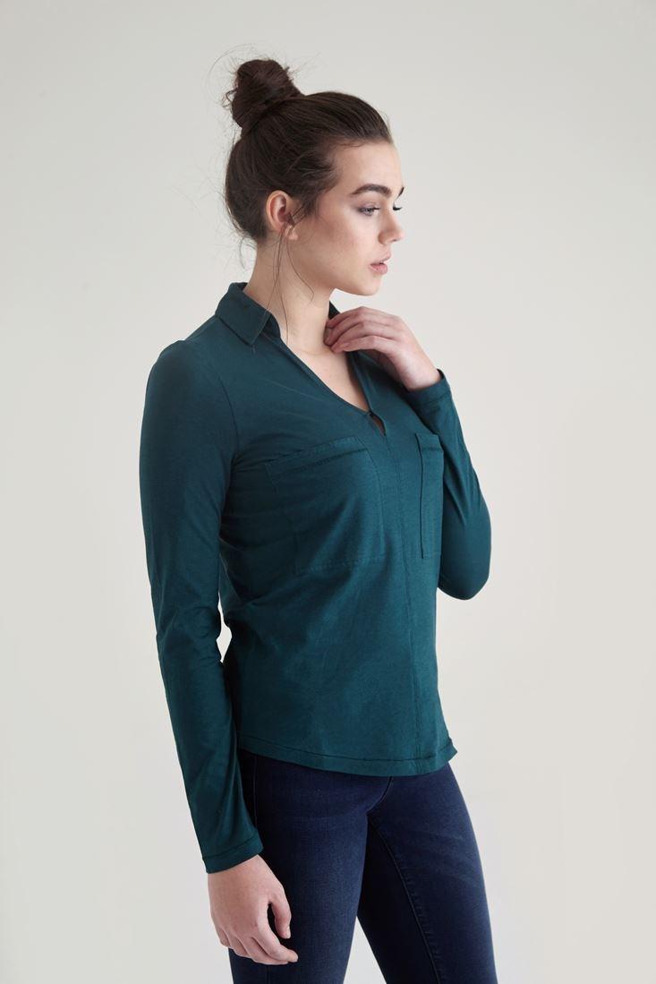 Bayan Yeşil Pamuklu Yaka Detaylı V yaka Bluz