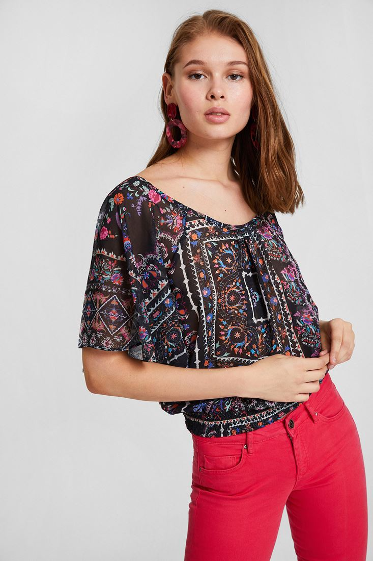 Mixed Chiffon Crop Blouse With Printed Detail