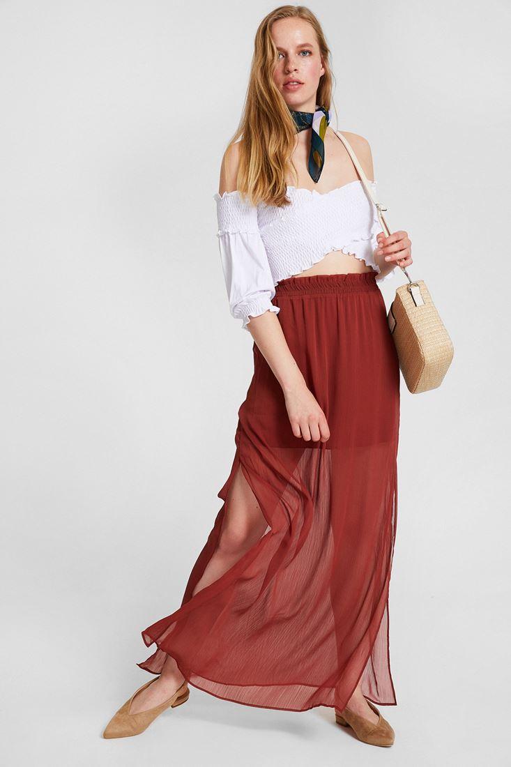 Bordeaux Maxi Skirt With Transparent Detail