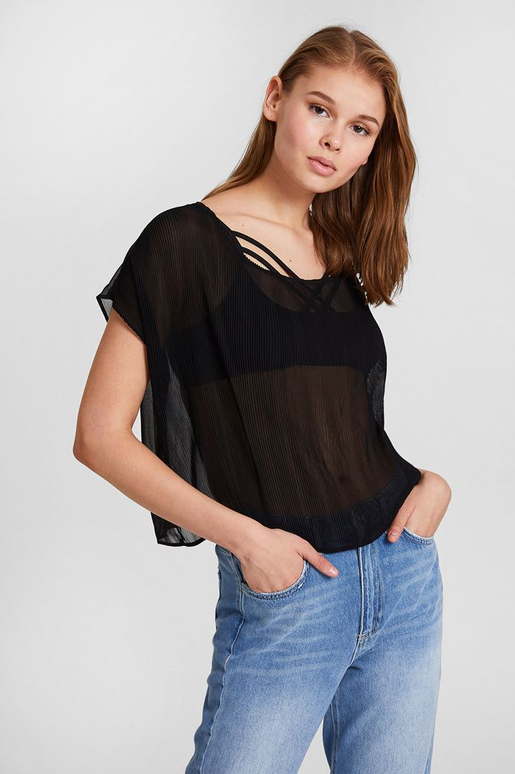 Black Pleated Blouse with Detail