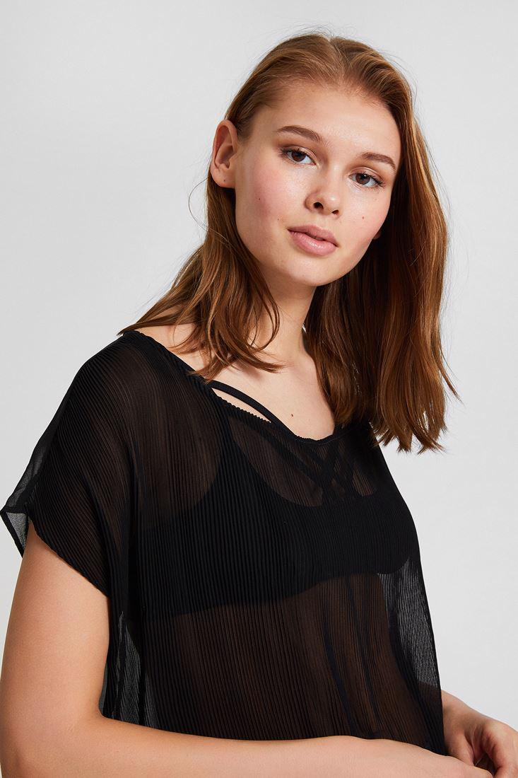 Women Black Pleated Blouse with Detail
