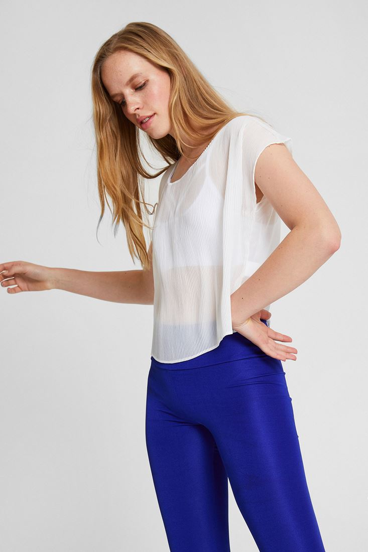 Cream Pleated Blouse with Detail