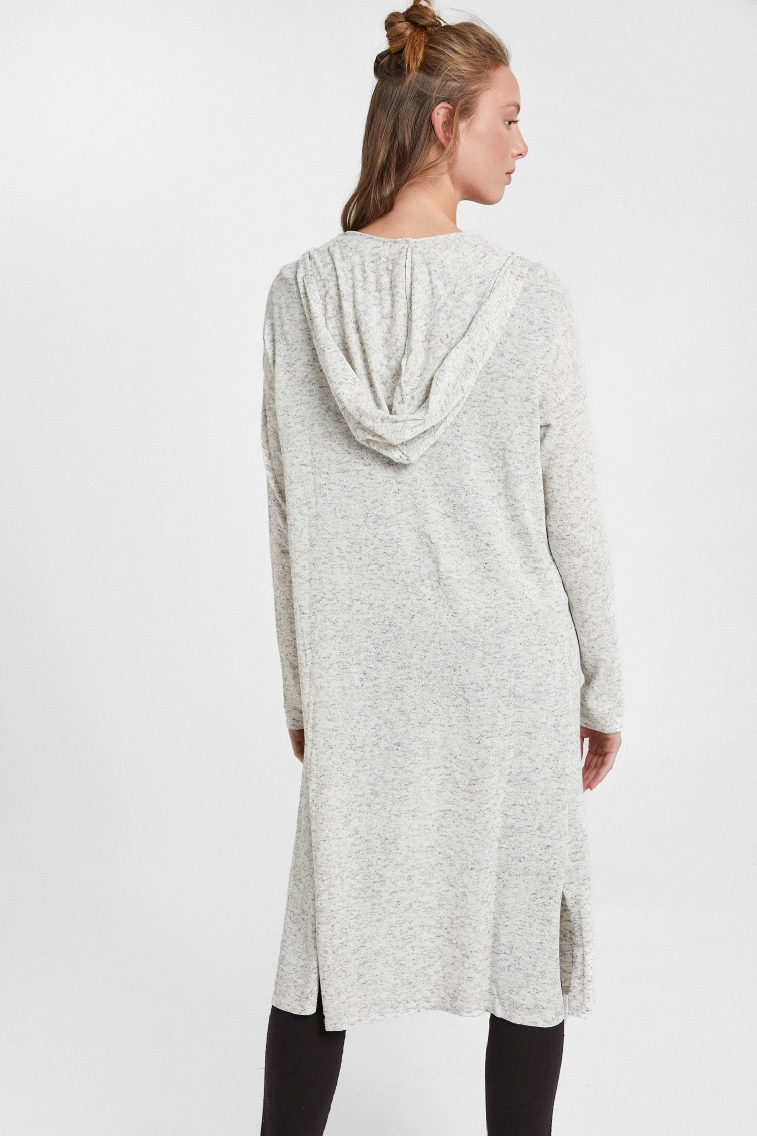 Women Grey Cardigan with Hood Detail