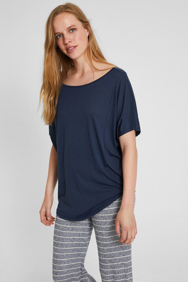 Navy Bot Neck Loose Fit T-shirt