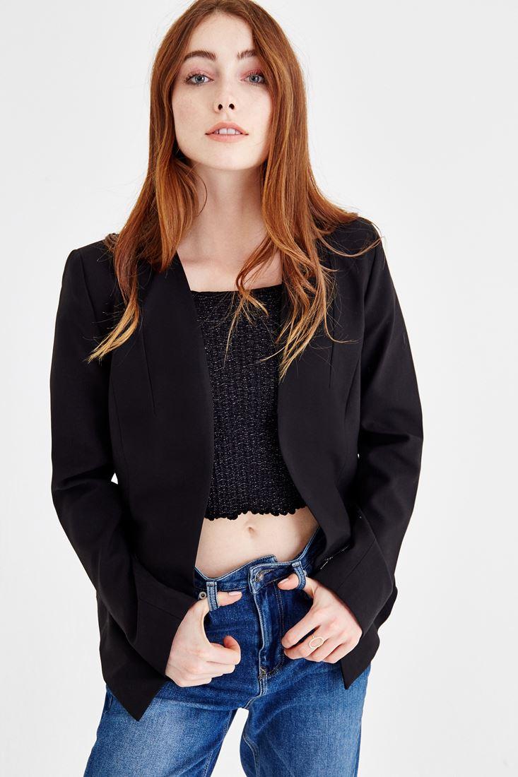 Siyah Fermuar Detaylı Siyah Ceket