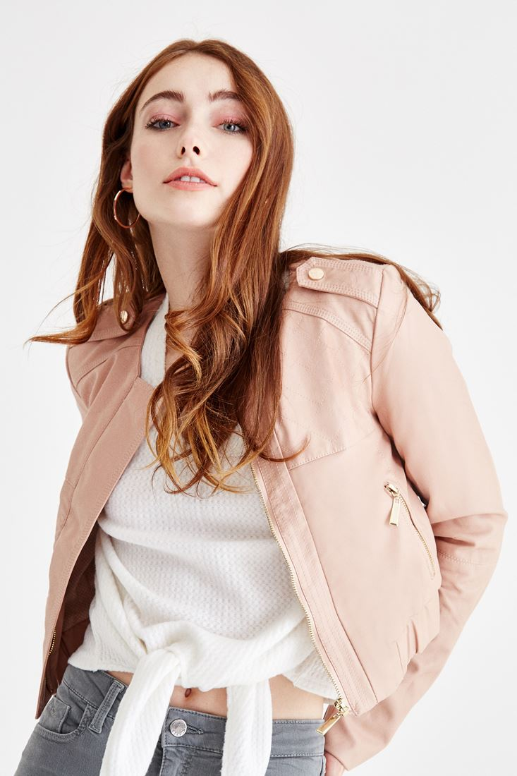 Pink Crop Leather Jacket