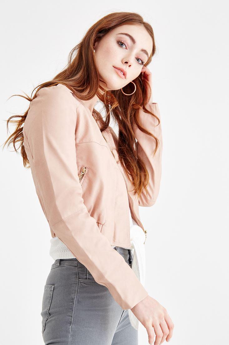 Bayan Pembe Renkli Kısa Deri Ceket