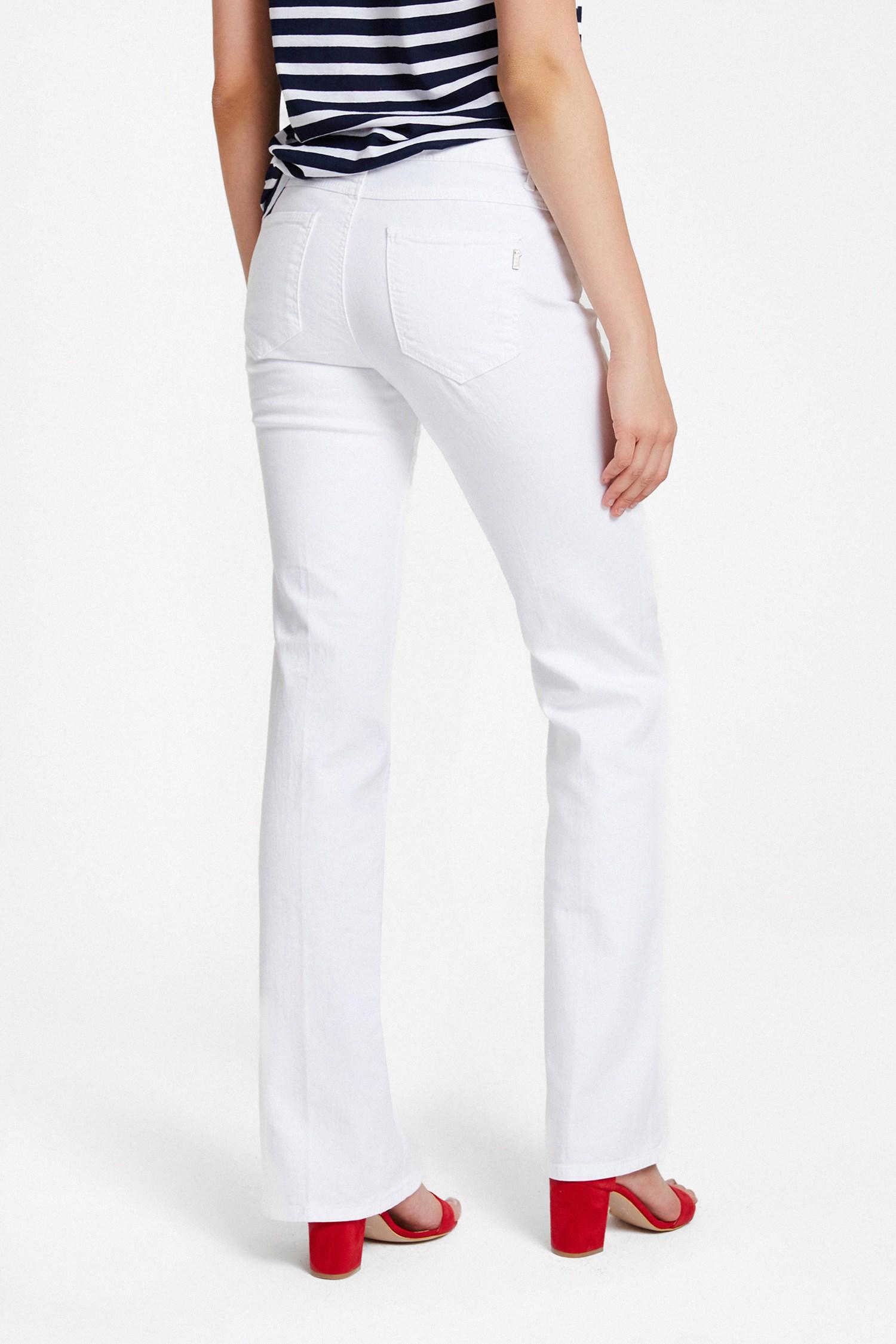 Bayan Beyaz Bot Paça Pantolon