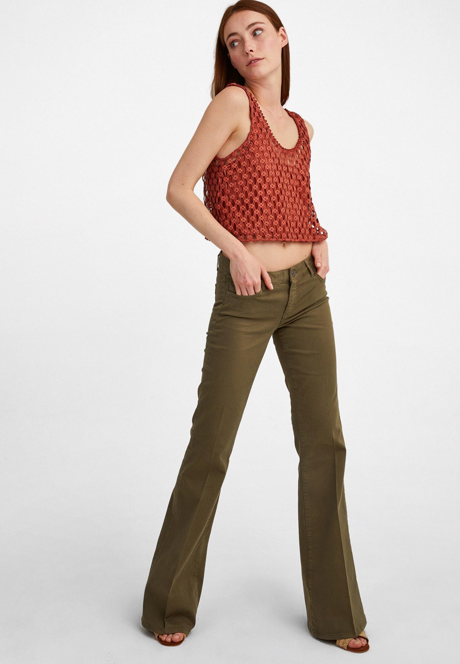 Bayan Yeşil Düşük Bel İspanyol Paça Pantolon