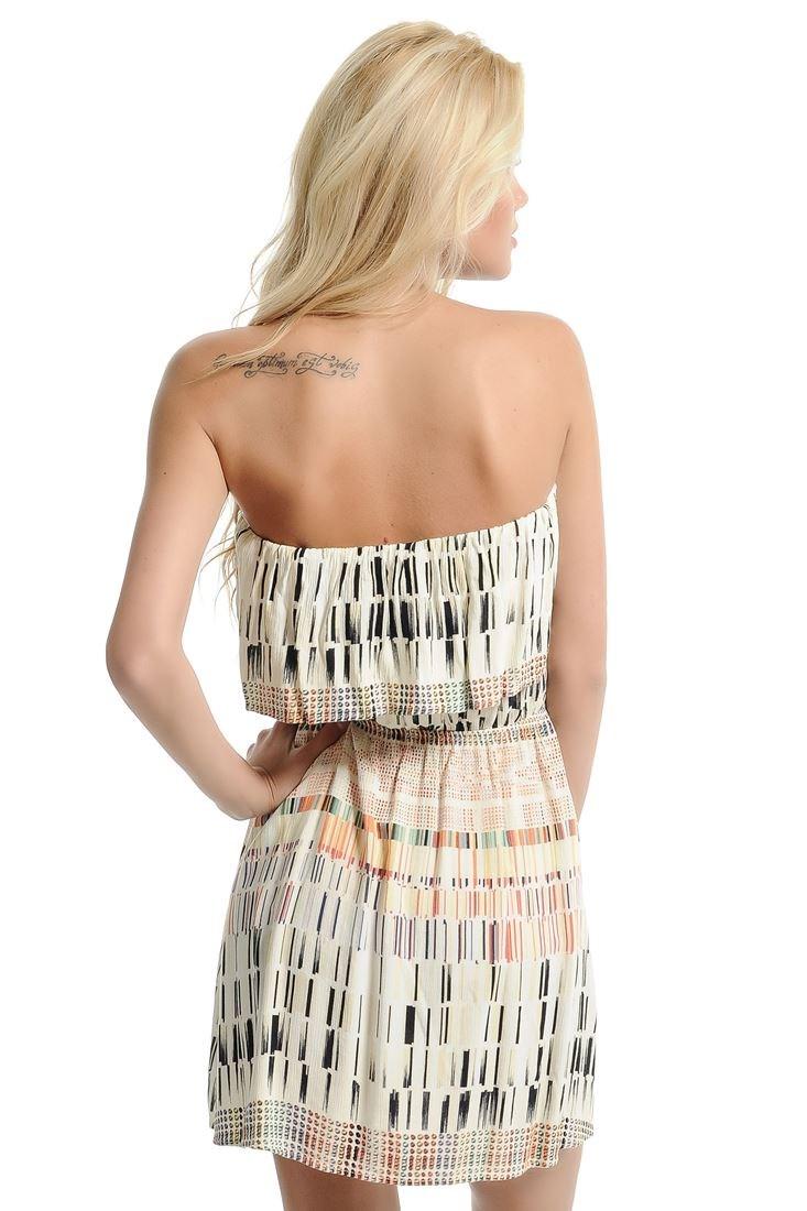 Bayan Siyah Straplez Mini Viskon Elbise