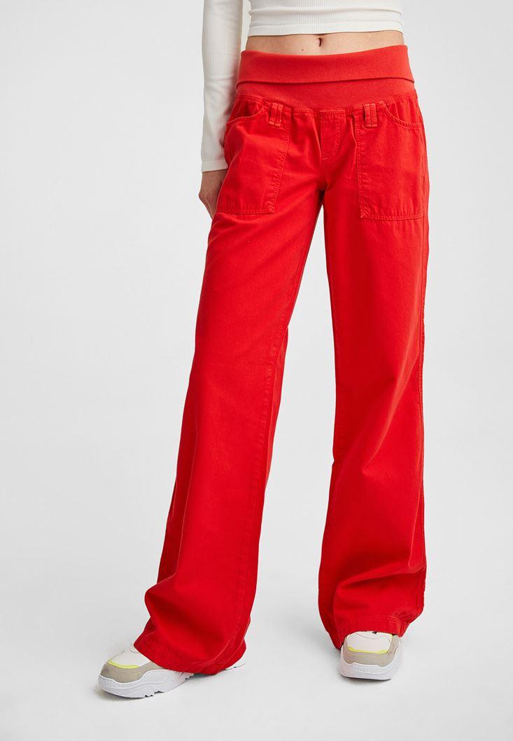 Kırmızı Beli Lastikli Bol Pantolon