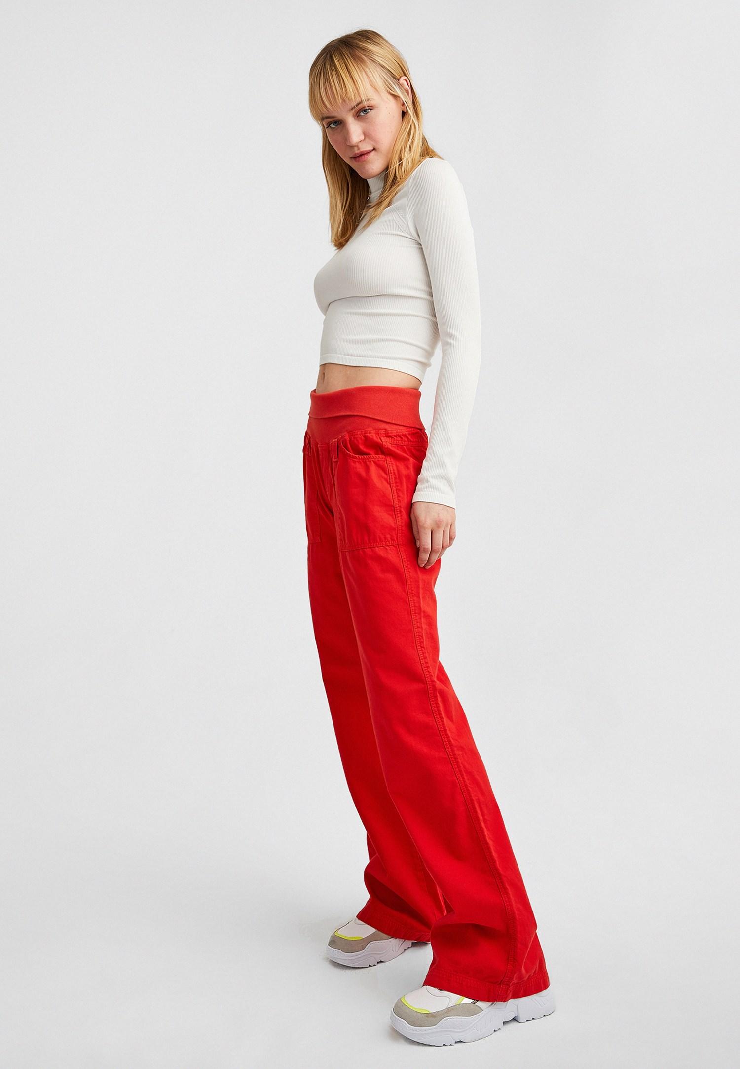 Bayan Kırmızı Beli Lastikli Bol Pantolon