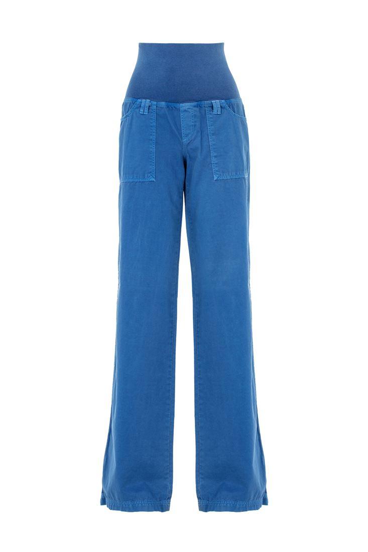 Mavi Beli Lastikli Bol Pantolon