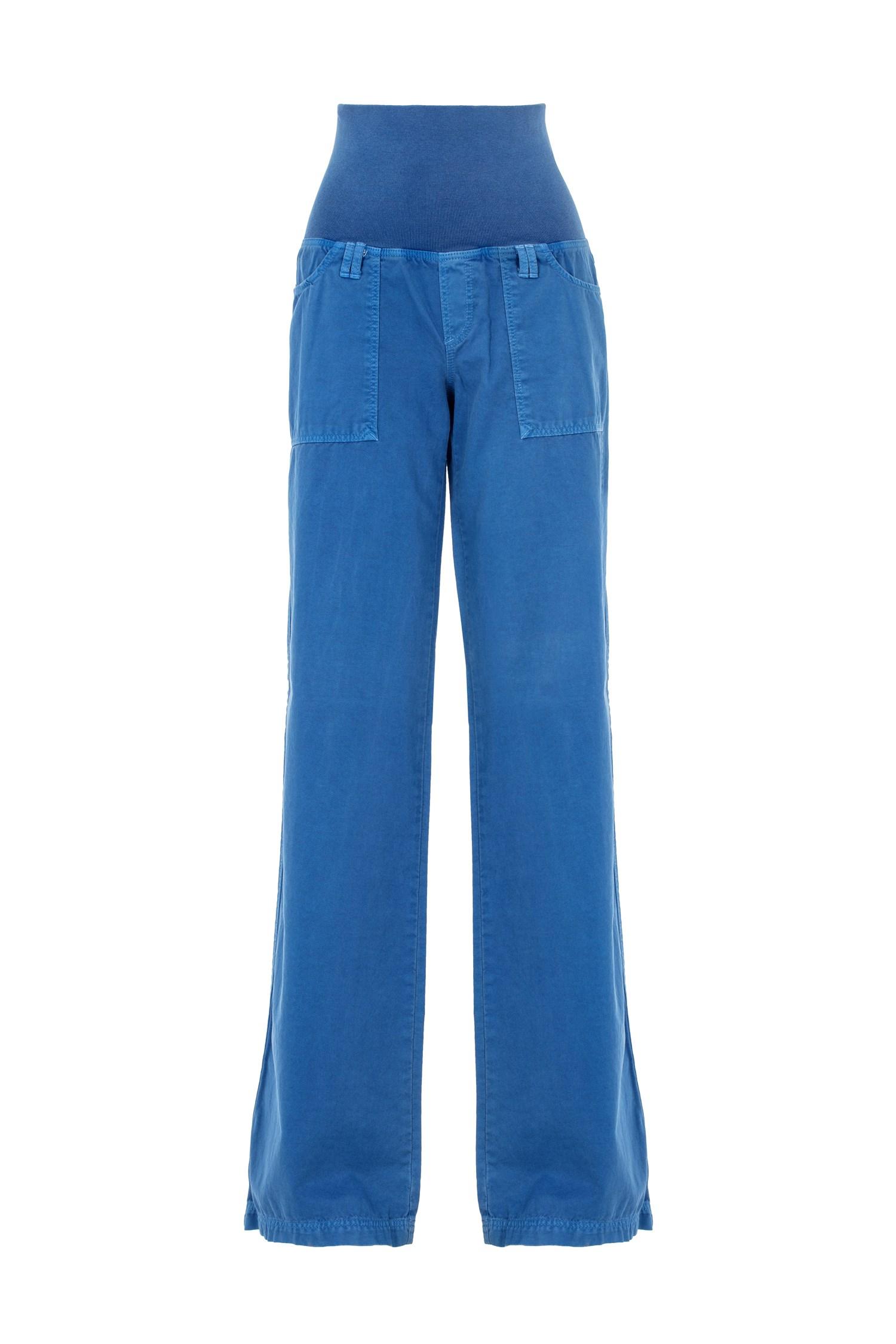 Bayan Mavi Beli Lastikli Bol Pantolon