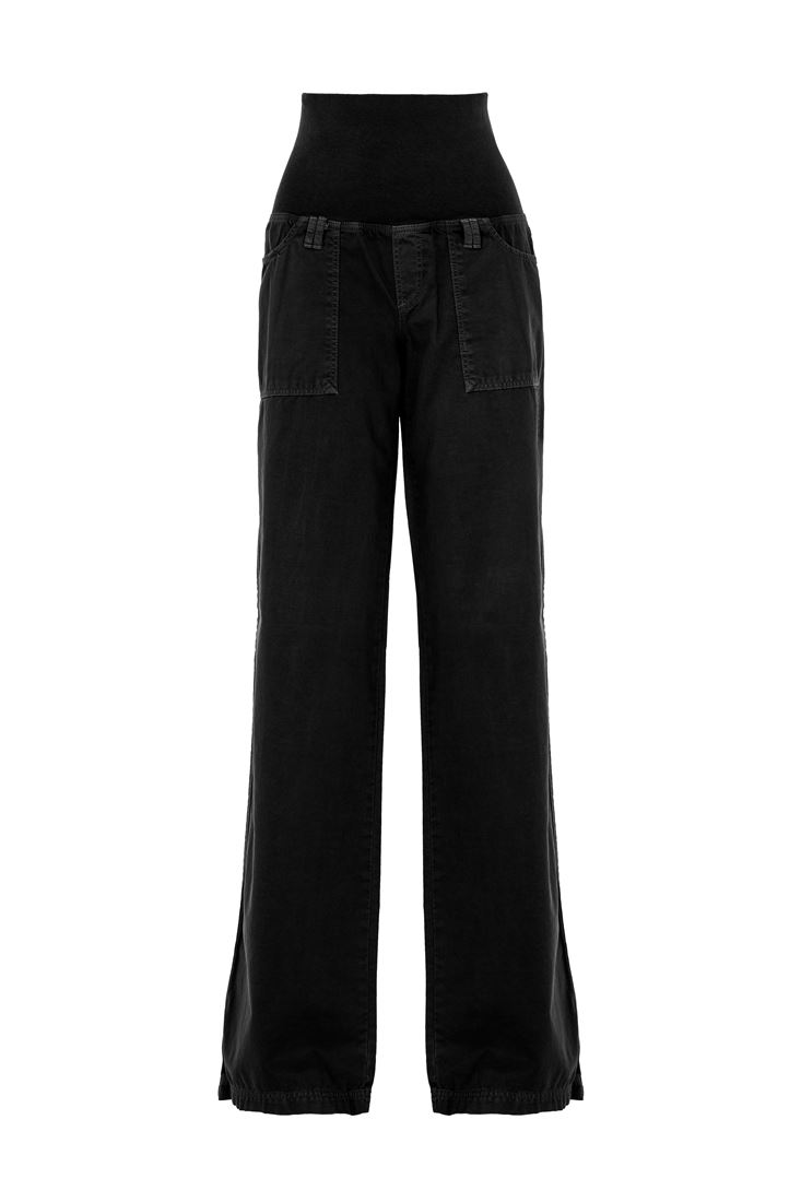 Black Elastic-Waisted Wide Trousers