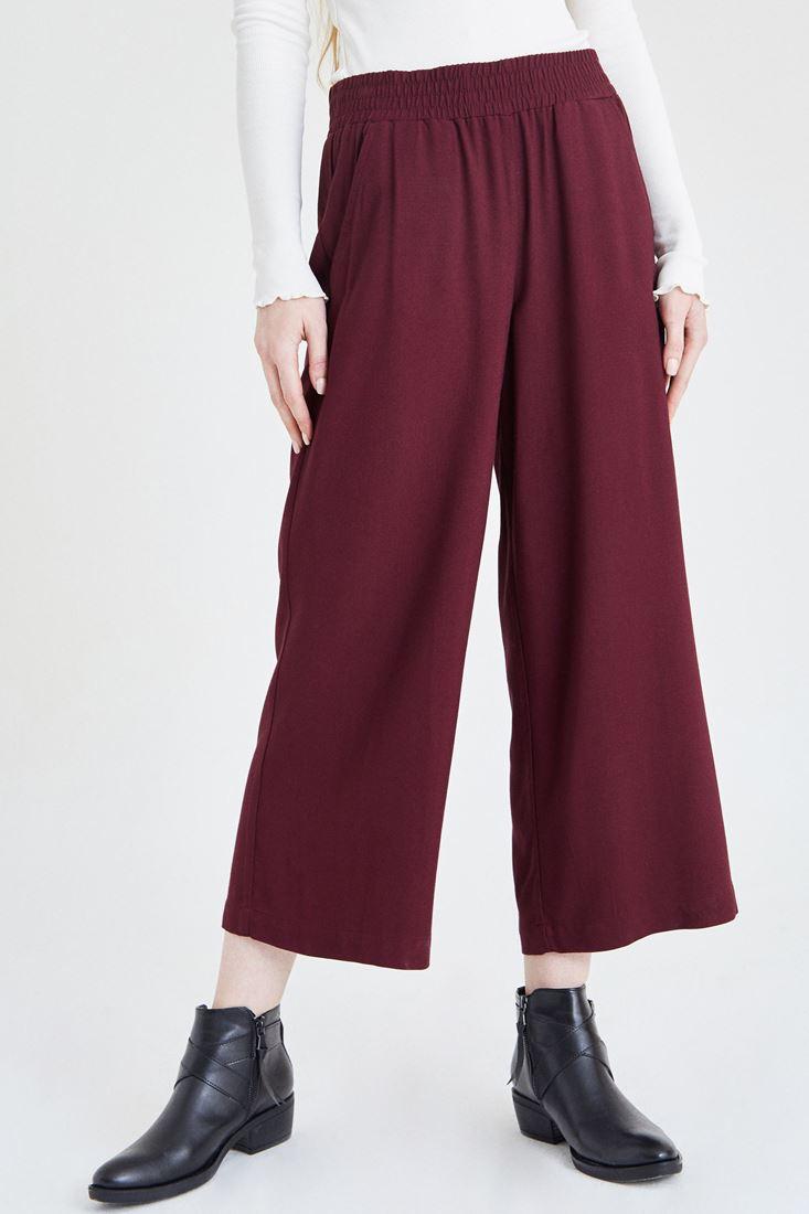 Bayan Bordo Beli Lastikli Bol Pantolon