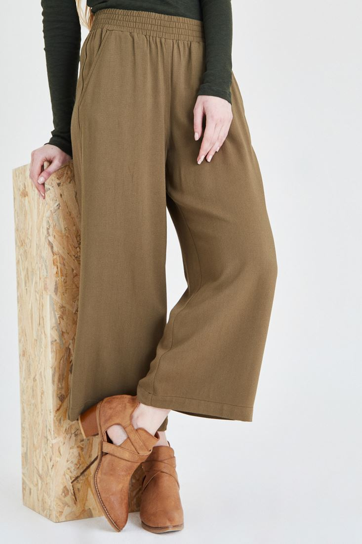 Yeşil Beli Lastikli Bol Pantolon